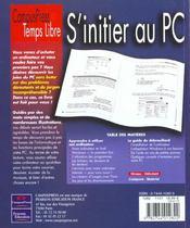 Temps Libre S'Initier Au Pc - 4ème de couverture - Format classique