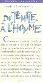 Du Temple A L'Homme - Intérieur - Format classique