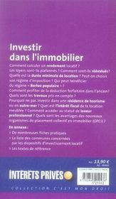Investir dans l'immobilier - 4ème de couverture - Format classique