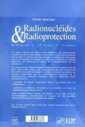 Guide pratique ; radionucléides et radioprotection (edition 2006) - 4ème de couverture - Format classique