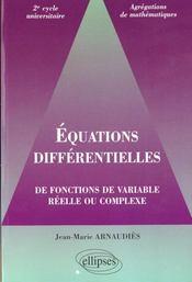 Equations Differentielles De Fonctions De Variable Reelle Ou Complexe - Intérieur - Format classique