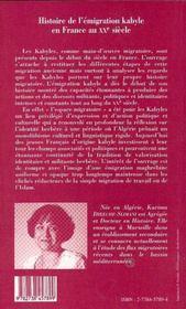 Histoire De L'Emigration Kabyle En France Au Xx Siecle - 4ème de couverture - Format classique
