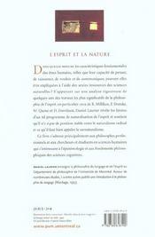 L'esprit et la nature - 4ème de couverture - Format classique