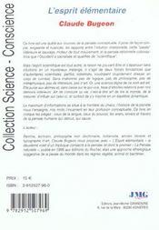 L'esprit elementaire ou mesure monde - 4ème de couverture - Format classique