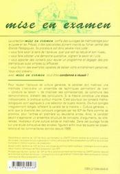 L'Epreuve De Culture Generale Instituts D'Etudes Politiques Paris Et Province Entree 1re Et 2e Annee - 4ème de couverture - Format classique