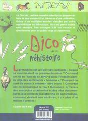 Le dico de la préhistoire - 4ème de couverture - Format classique