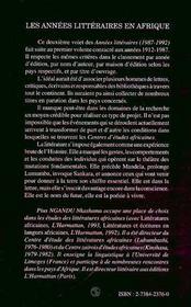 Les Annees Litteraires En Afrique, 1987-1992 - 4ème de couverture - Format classique