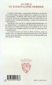 Au-Dela Du Rationalisme Morbide - 4ème de couverture - Format classique