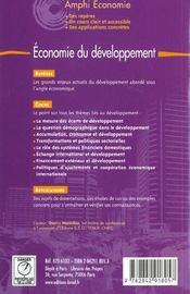 Économie du développement - 4ème de couverture - Format classique