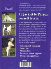 Le Jack Et Le Parson Russell Terrier - 4ème de couverture - Format classique