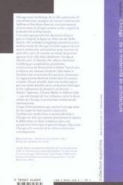 Chicago - De La Modernite En Architecture - 4ème de couverture - Format classique