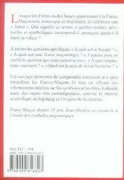 Comment travaillent les francs-maçons ? la tenue maçonnique - 4ème de couverture - Format classique