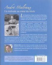 Andre malraux ; un ecrivain au coeur du siecle - 4ème de couverture - Format classique