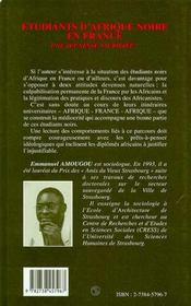 Étudiants d'Afrique noire en France ; une jeunesse sacrifiée ? - 4ème de couverture - Format classique