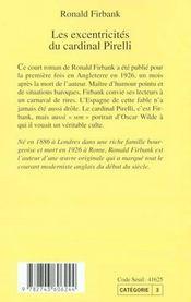 Les Excentricites Du Cardinal Pirelli - 4ème de couverture - Format classique