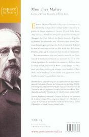 Mon cher maître ; lettres d'Ernest Vizetelly à Emile Zola - 4ème de couverture - Format classique