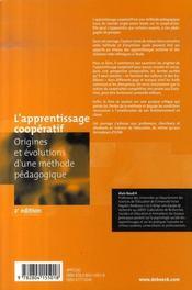 L'apprentissage coopératif ; origines et évolutions d'une méthode pédagogiques (2e édition) - 4ème de couverture - Format classique