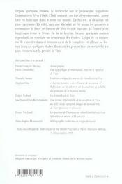 Recheches Sur La Pensee De Vico - 4ème de couverture - Format classique