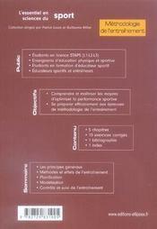 Méthodologie de l'entraînement - 4ème de couverture - Format classique