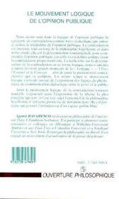 Le Mouvement Logique De L'Opinion Publique - 4ème de couverture - Format classique