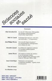 Revue Sciences Sociales Et Sante N.25-2 ; Le Sens De L'Observance ; Une Nouvelle Figure Du Patient ; Carrières De Personnes Traitées Contre Les Vih - 4ème de couverture - Format classique
