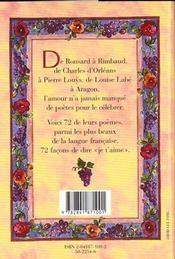 Les Plus Beaux Poemes D'Amour De Ronsard A Aragon - 4ème de couverture - Format classique