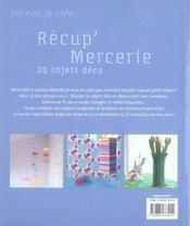 Récup' mercerie ; 30 objets déco - 4ème de couverture - Format classique