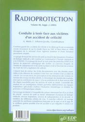 Radioprotection Conduite A Tenir Face Aux Victimes - 4ème de couverture - Format classique