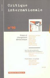 Revue Critique Internationale N.16 ; Prison Et Changement Démocratique - Intérieur - Format classique