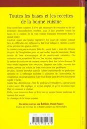 Toutes les bases et les recettes de la bonne cuisine - 4ème de couverture - Format classique