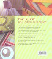 Couture facile pour le décor de la maison - 4ème de couverture - Format classique