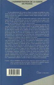 L'Administration De La Sante En France - 4ème de couverture - Format classique