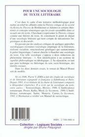 Pour Une Sociologie Du Texte Litteraire - 4ème de couverture - Format classique