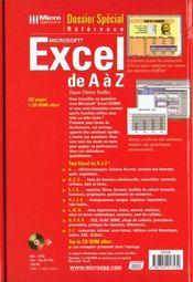 Dossier Special Excel De A A Z - 4ème de couverture - Format classique
