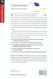 L'autoformation ; pour apprendre autrement - 4ème de couverture - Format classique