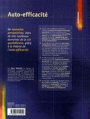 Auto-efficacité ; le sentiment d'efficacité personnelle - 4ème de couverture - Format classique