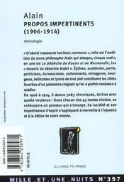 Propos Impertinents (1906-1914) - 4ème de couverture - Format classique