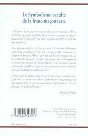 Le Symbolisme Occulte De La Franc-Maconnerie - 4ème de couverture - Format classique
