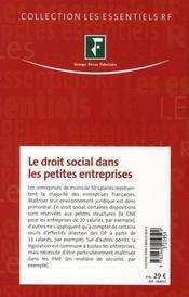 Le droit social dans les petites entreprises ; recrutement et licenciement, représentants du personnel - 4ème de couverture - Format classique