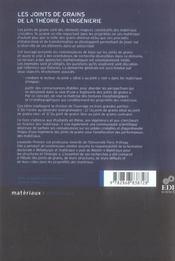Les Joints De Grain ; De La Theorie A L'Ingenierie - 4ème de couverture - Format classique