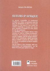 Sueurs d'afrique - 4ème de couverture - Format classique