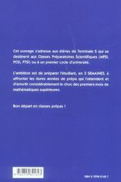 De La Terminale A La Prepa ; Rappels De Cours Et Exercices Corriges - 4ème de couverture - Format classique