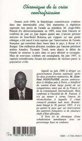 Chronique De La Crise Centrafricaine, 1996-1997 ; Le Syndrome Barracuda - 4ème de couverture - Format classique