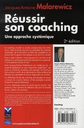 Reussir son coaching ; une approche systémique - 4ème de couverture - Format classique