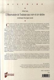 L'observatoire de toulouse aux xviii et xix siècles ; archéologie d'un espace savant - 4ème de couverture - Format classique