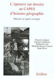 L'Epreuve Sur Dossier Au Capes D'Histoire-Geographie - Intérieur - Format classique