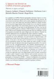 L'Epreuve Sur Dossier Au Capes D'Histoire-Geographie - 4ème de couverture - Format classique