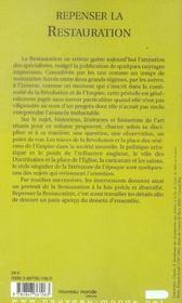 Repenser La Restauration - 4ème de couverture - Format classique
