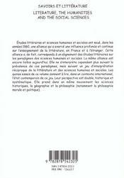 Savoirs et litterature. litterature, the humanities and the social sc iences - 4ème de couverture - Format classique