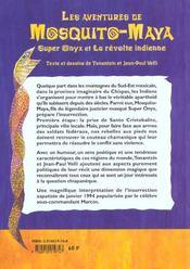 Mosquito-Maya : Super-Onyx Et La Revolte Indienne - 4ème de couverture - Format classique